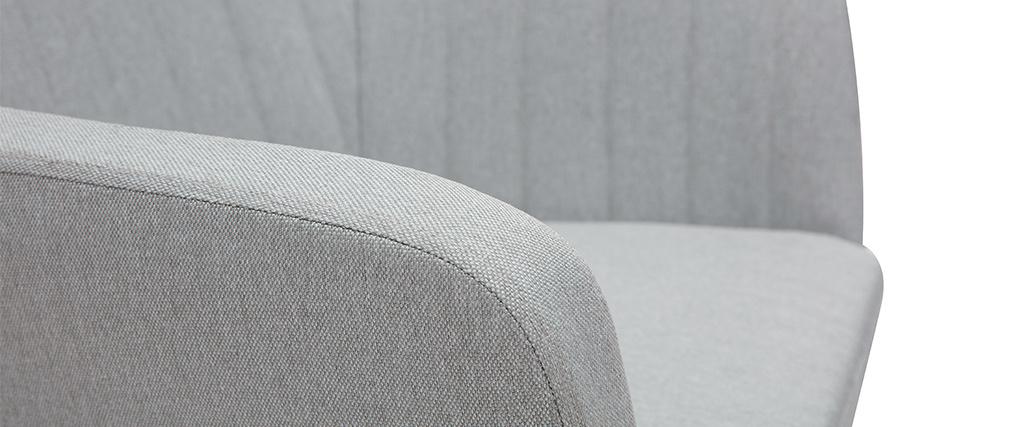 Sessel skandinavisch Hellgrau und Füße aus Eichenholz ALEYNA