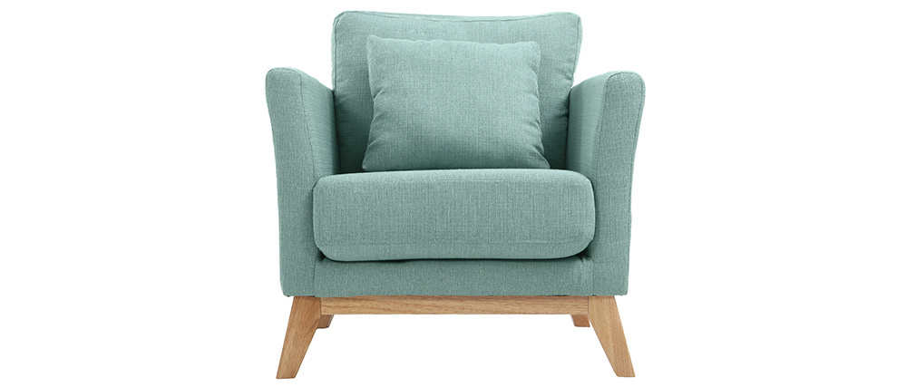 Sessel skandinavisch Lagunenblau und Füße aus hellem Holz OSLO