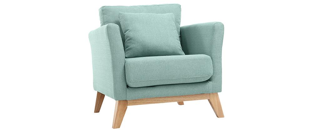 Bürosessel holz  Sessel skandinavisch Lagunenblau und Füße aus hellem Holz OSLO ...