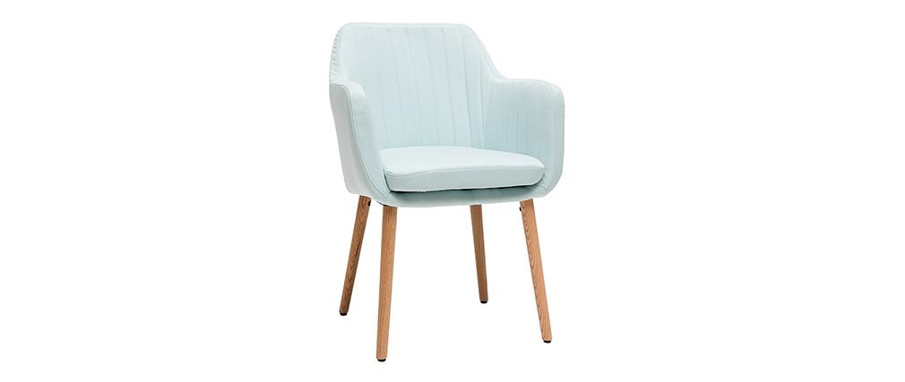 Sessel skandinavisch Minzgrün und Füße aus Eichenholz ALEYNA