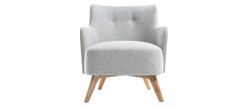 Sessel skandinavisch Perlgrau Füße Holz VALMY