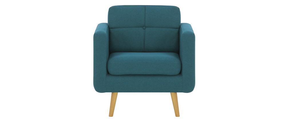 Sessel Skandinavisch Stoff Blaugrün und Holz ELFE
