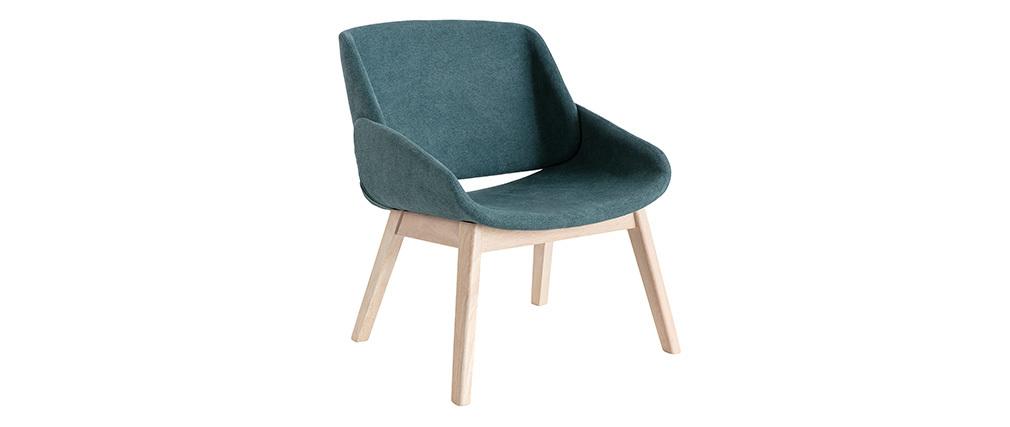 Sessel skandinavisch Velours-Effekt Blaugrün WILLY
