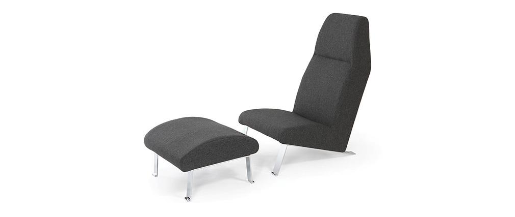 sessel tief und fu ablage grau warhly miliboo. Black Bedroom Furniture Sets. Home Design Ideas