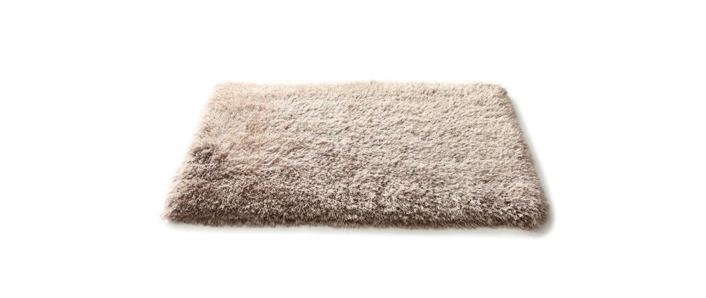 Shaggy-Teppich als Bettvorleger Taupe 60 cm x 90 cm VALDO