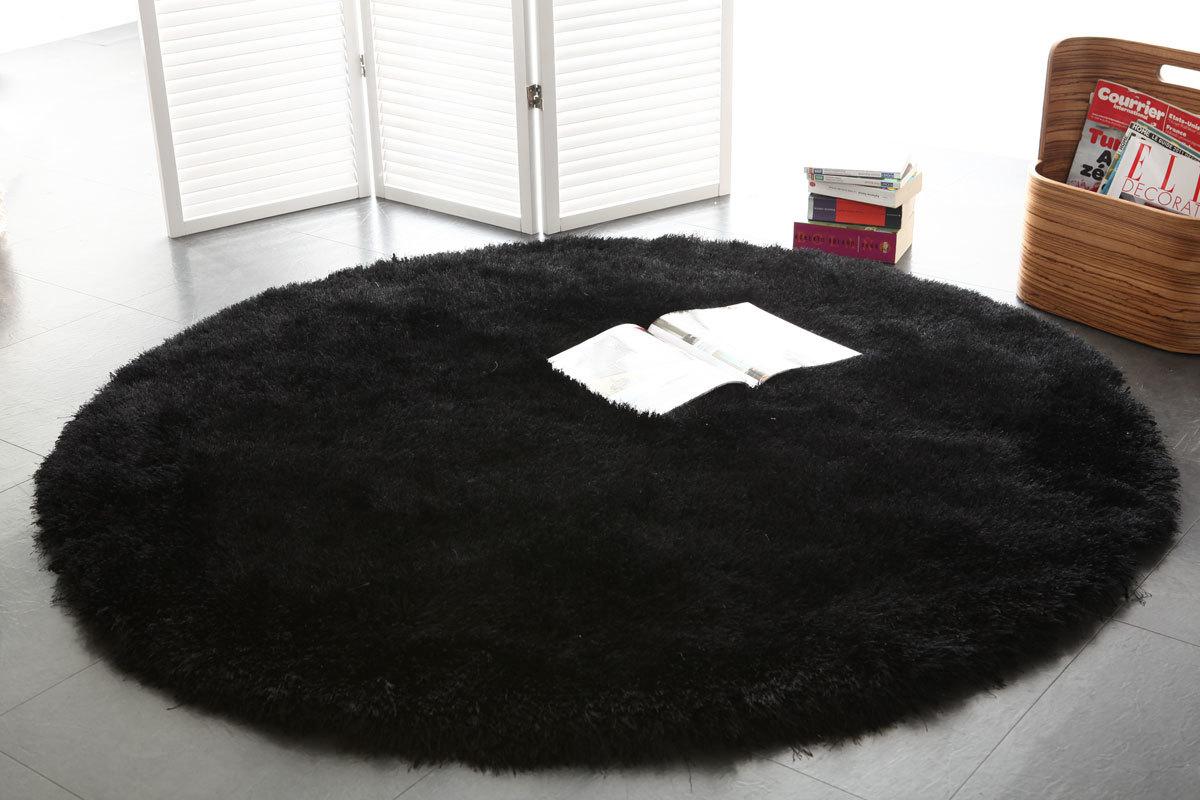 Shaggy-Teppich rund Schwarz 150 cm UGO