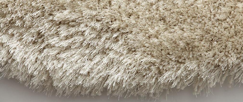 Shaggy-Teppich Rund Weiß 150 cm UGO