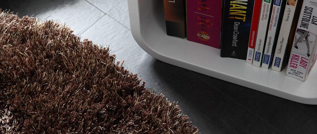 shaggy teppich ugo rund 100 cm schokolade miliboo. Black Bedroom Furniture Sets. Home Design Ideas