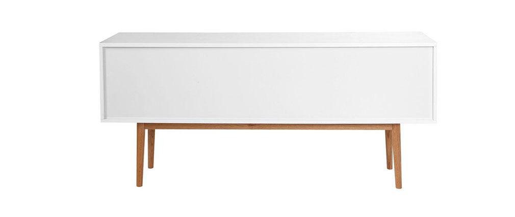 Sideboard GILDA Holz Natur und Weiß 2 Türen 2 Schubladen