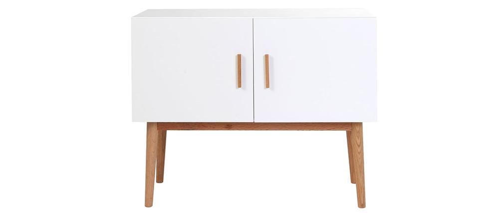 Sideboard GILDA Holz Natur und Weiß 2 Türen