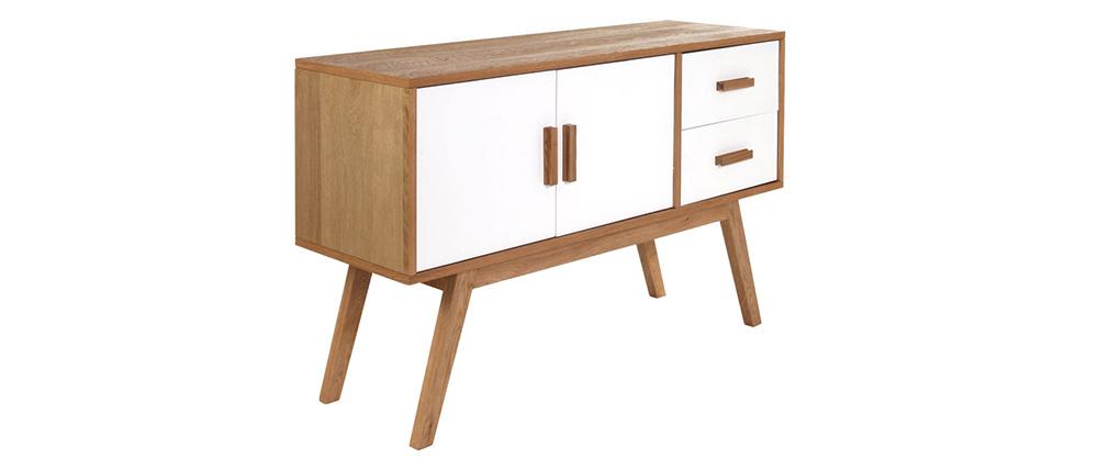 Sideboard HELIA Holz Natur und Weiß 2 Türen 2 Schubladen