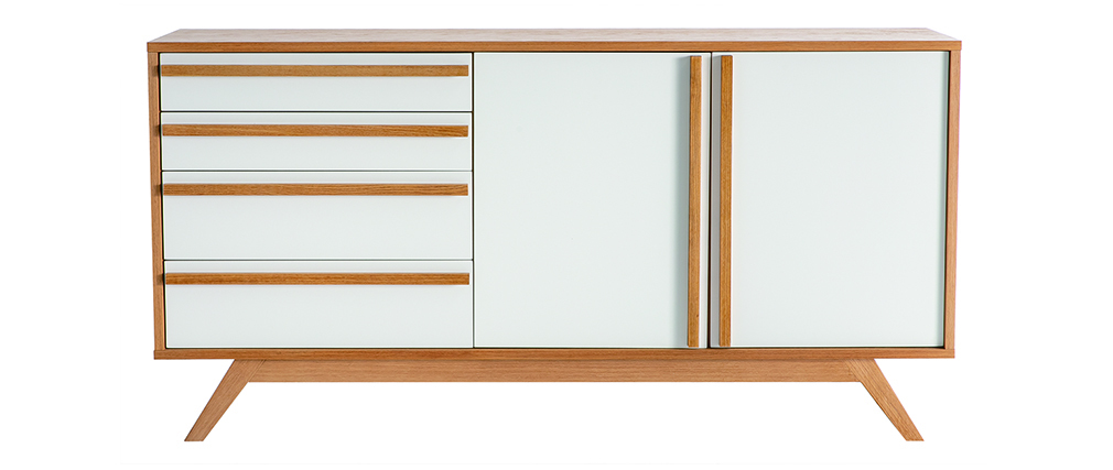 Sideboard HELIA Holz Natur und Weiß 2 Türen 4 Schubladen