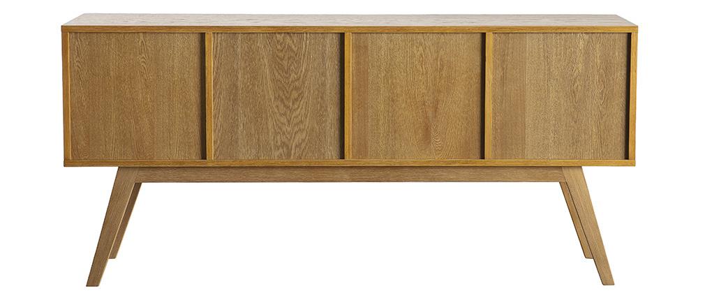 Sideboard HELIA Holz Natur und Weiß 4 Türen