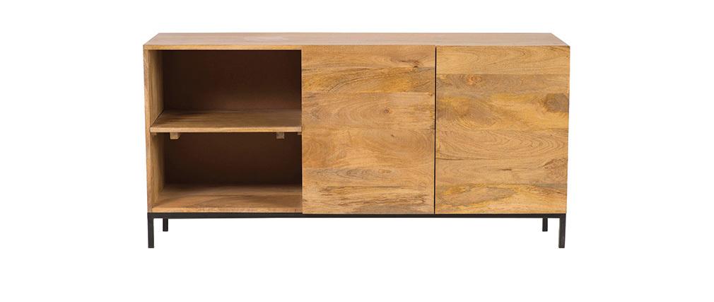 Sideboard Industrie-Stil Mangoholz und Metall YPSTER