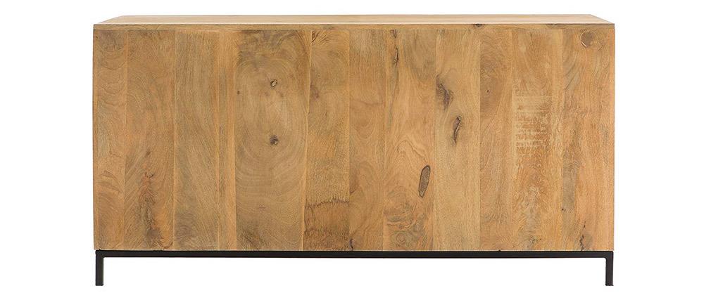 Sideboard industrieller Stil aus Mangoholz und Metall perforiert RACK