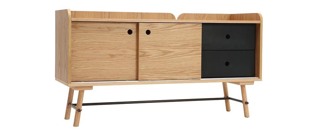 Sideboard skandi-japanischer Stil Eiche und mattgrau 2 Schubladen JAPANSK