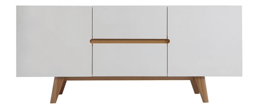 Sideboard Skandinavienstil Weiß glänzend und Esche 160 cm MELKA
