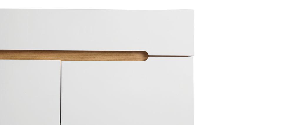 Sideboard Skandinavienstil Weiß glänzend und Esche 180 cm MELKA
