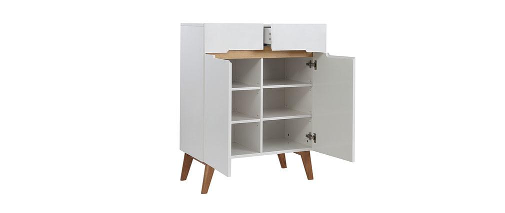 Sideboard Skandinavienstil Weiß glänzend und Esche 80 cm MELKA