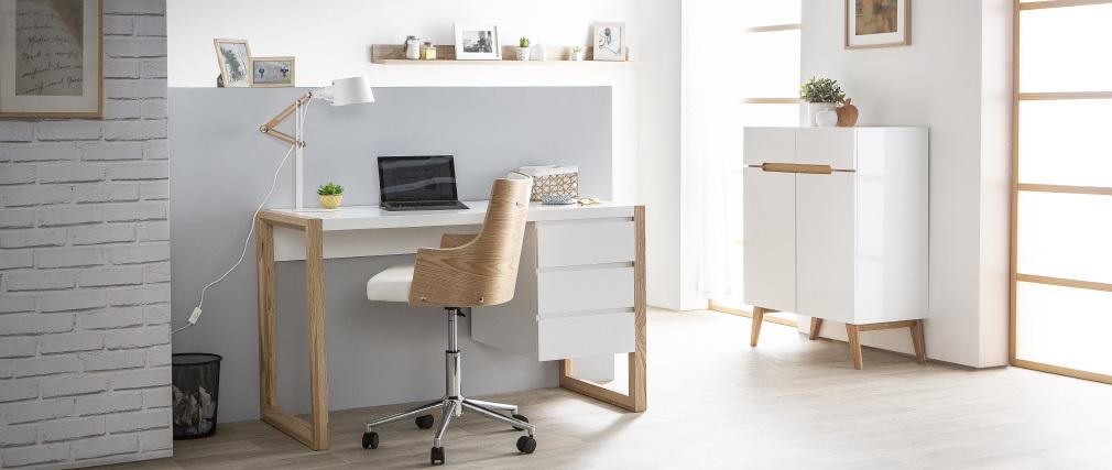 Sideboard Skandinavienstil Weiß und Esche 80 cm MELKA