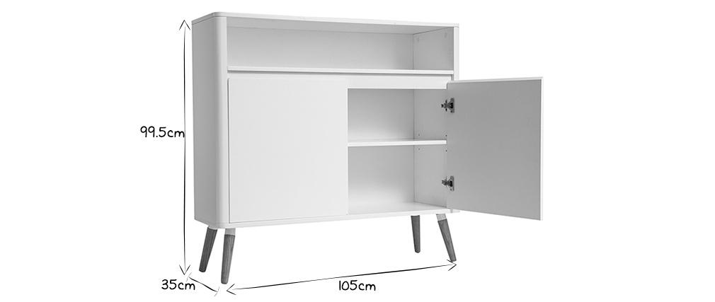 Sideboard skandinavisches Design Weiß und Holz TOTEM