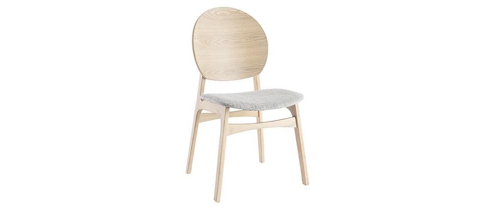 Skandinavische helle Holzstühle mit hellblauem Stoff (2er-Set) ELTON
