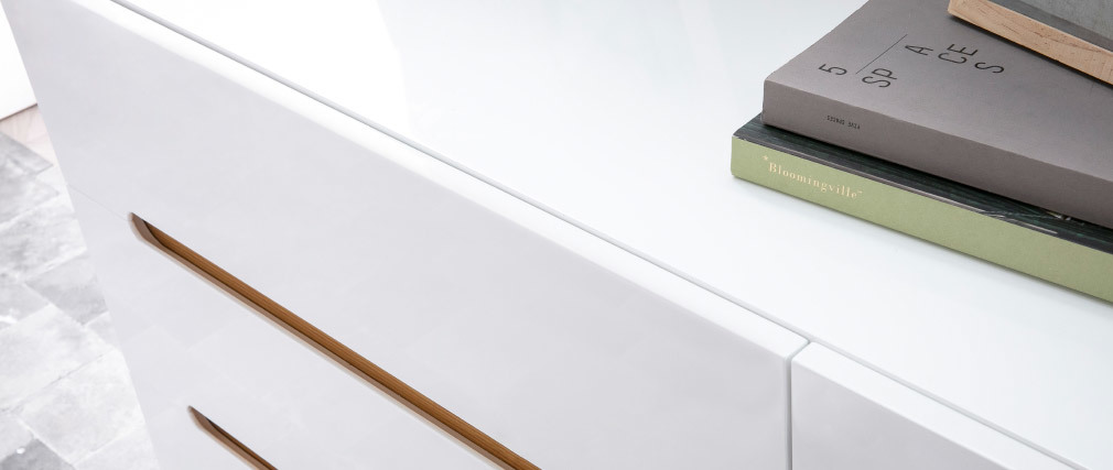 Skandinavische Kommode Weiß glänzend und Esche 6 Schubladen MELKA