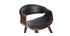 Skandinavischer Armstuhl, schwarz und dunkles Holz ARAMIS