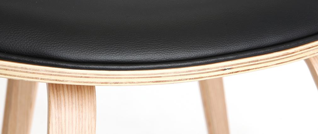 Skandinavischer Armstuhl, schwarz und helles Holz ARAMIS