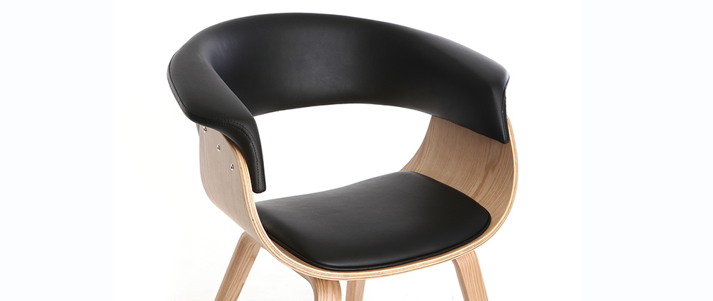 Skandinavischer Armstuhl, schwarz und helles Holz OKTAV