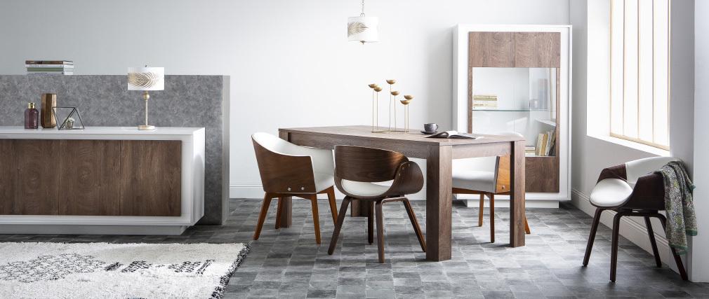 Skandinavischer Armstuhl, weiß und helles Holz ARAMIS