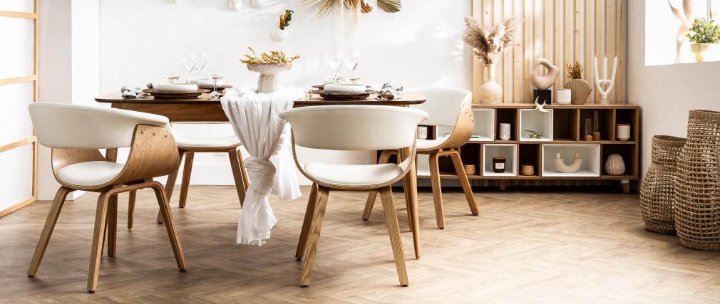 Skandinavischer Armstuhl, weiß und helles Holz OKTAV