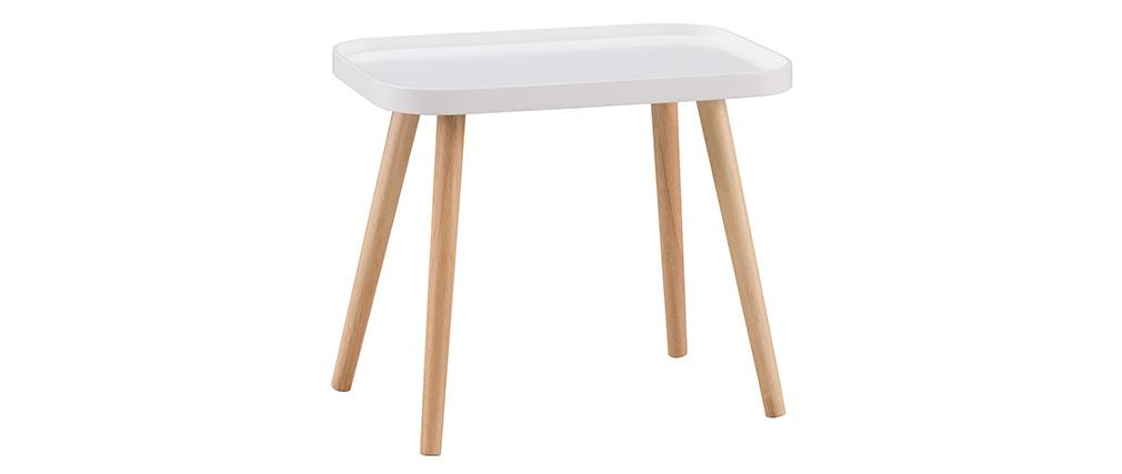 Skandinavischer Couchtisch Weiß und helles Holz BENTO