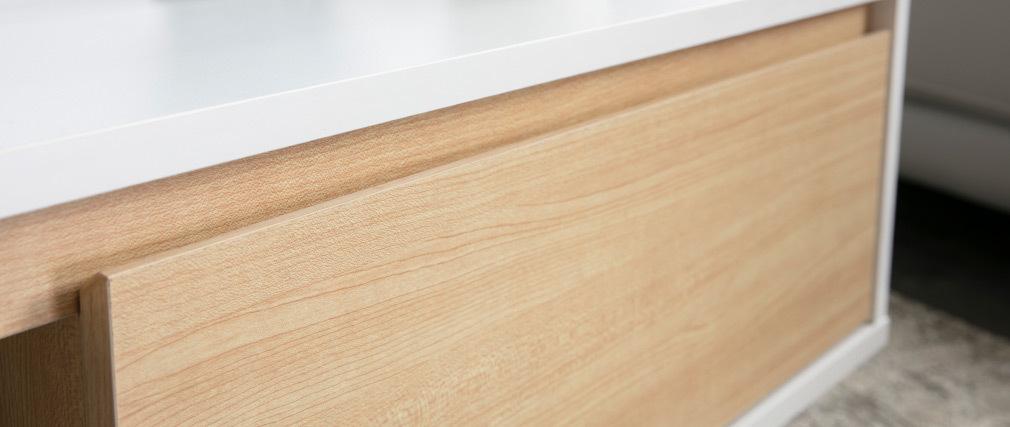 Skandinavischer Couchtisch Weiß und Holz LAHTI