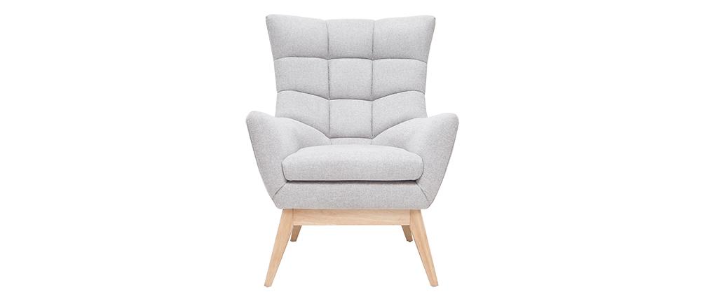 Skandinavischer hellgrauer Sessel aus Holz BRODY
