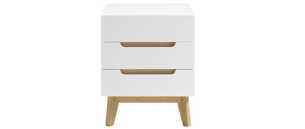 Skandinavischer Nachttisch 3 Schubladen matt weiß und Holz SKIVE