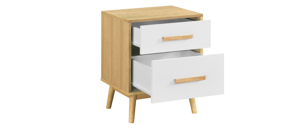 Skandinavischer Nachttisch aus hellem Holz in weiß mit 2 Schubladen TALIA