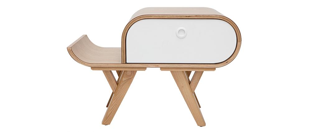 Skandinavischer Nachttisch Esche und weiß (links) KYOTO - Miliboo & Stéphane Plaza