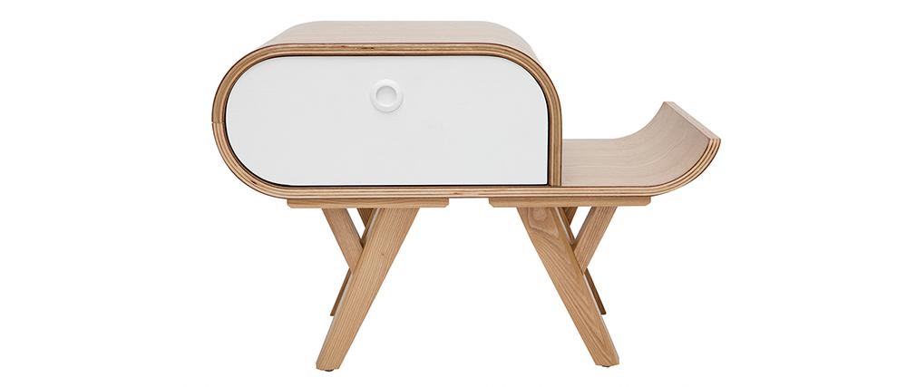 Skandinavischer Nachttisch Esche und weiß (rechts) KYOTO - Miliboo & Stéphane Plaza