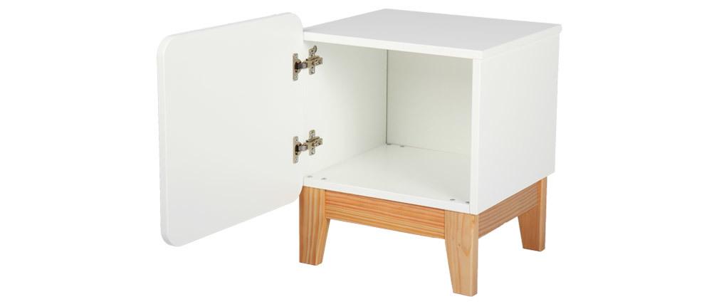Skandinavischer Nachttisch in Weiß und Holz KUNG
