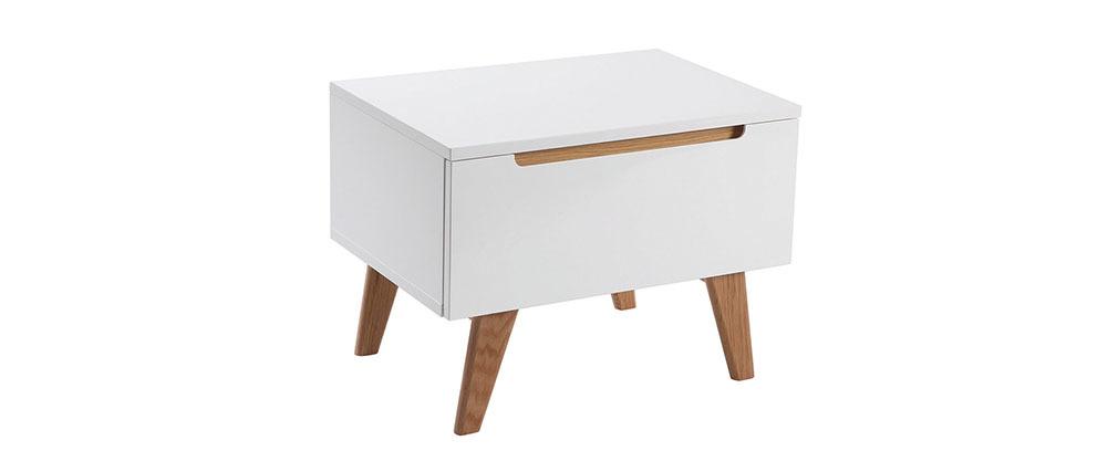 Skandinavischer Nachttisch Weiß glänzend und Esche MELKA