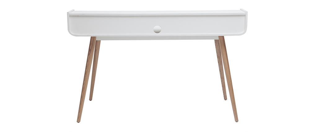 Skandinavischer Schreibtisch aus Holz und weiß L140 cm OPUS