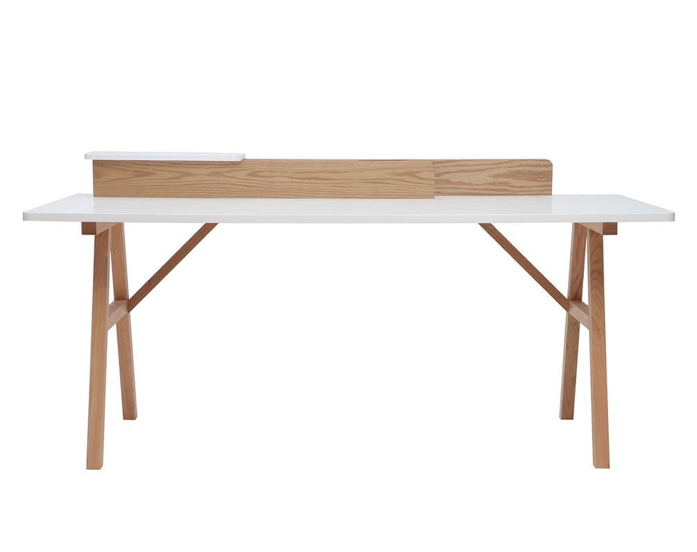 Skandinavischer Schreibtisch Holz und Weiß L 180 cm TOGARY ...