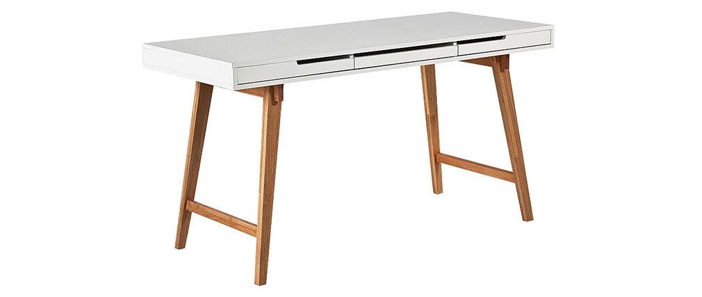 Skandinavischer Schreibtisch mattweiß lackiert und Holz ESKA
