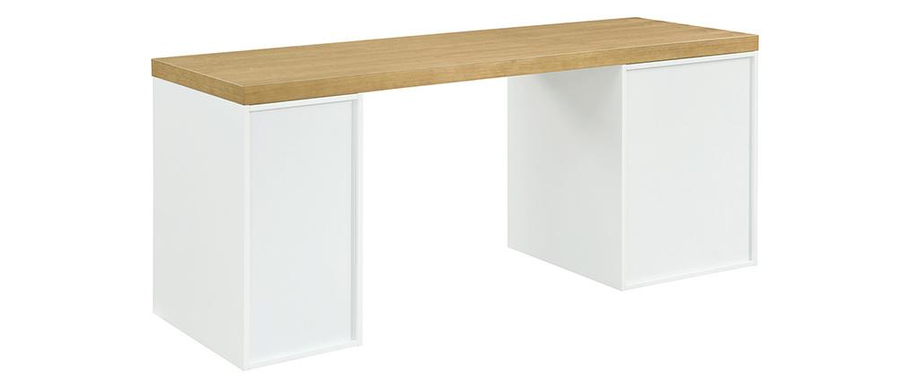 Skandinavischer Schreibtisch mit weißer Schublade und offenem Untergestell RACKEL