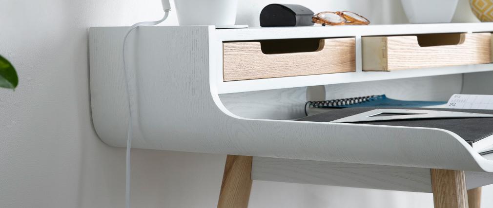 Skandinavischer Schreibtisch weißes Holz mit Aufbewahrungsmöglichkeiten OPUS
