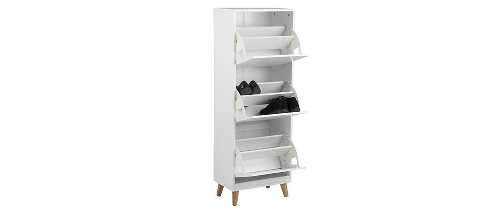 Skandinavischer Schuhschrank mit 3 Fächern Holz Weiß MITRAA