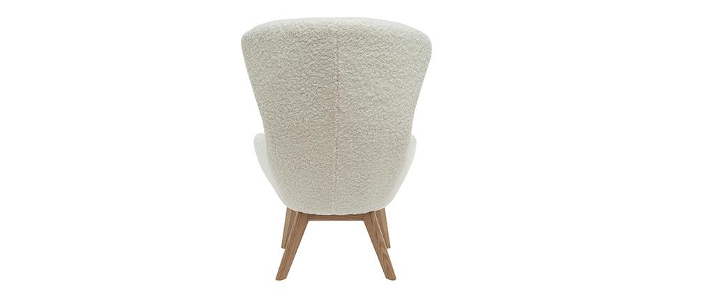 Skandinavischer Sessel aus weißem, gelocktem Woll-Effekt-Stoff und Holz ESKUA