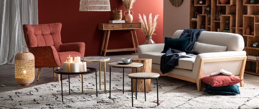 Skandinavischer Sessel in grünem Stoff und Holz AVERY- Miliboo |1| Stéphane Plaza
