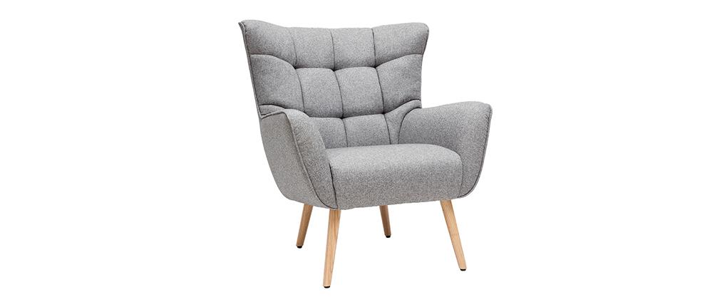 Skandinavischer Sessel in hellgrauem Stoff und Holz AVERY